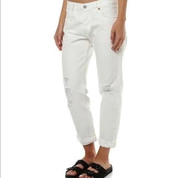 18f7d7a7b0f Levi s Denim - Levi s 501 CT white distressed boyfriend jeans